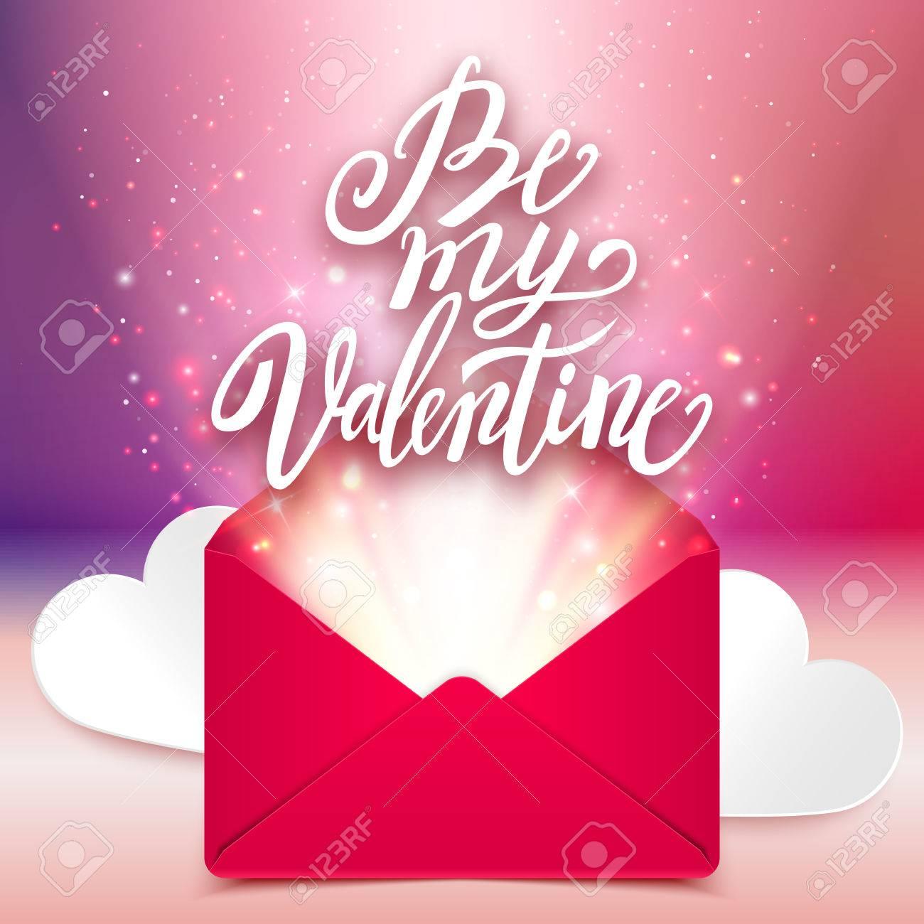 Be My Valentine Handwritten Love Message Romantic Card Vector