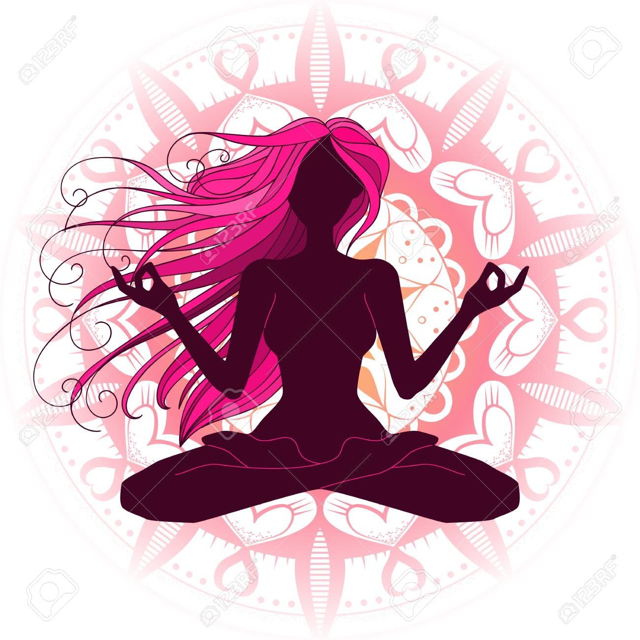 Beautiful Woman Silhouette Meditating Doing Yoga Graphic Vector Royalty Free Cliparts Vectors And Stock Illustration Image 84609985
