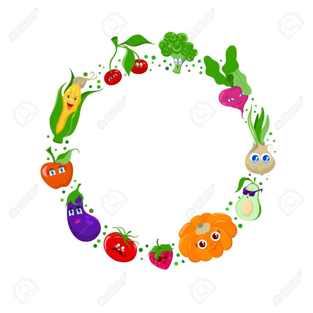 Funny Cartoon Obst Und Gemüse Rahmen Lizenzfrei Nutzbare ...