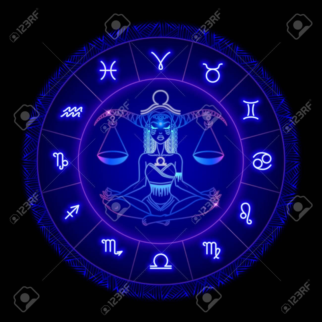 Libra zodiac sign, horoscope symbol. Vector illustration - 103600771