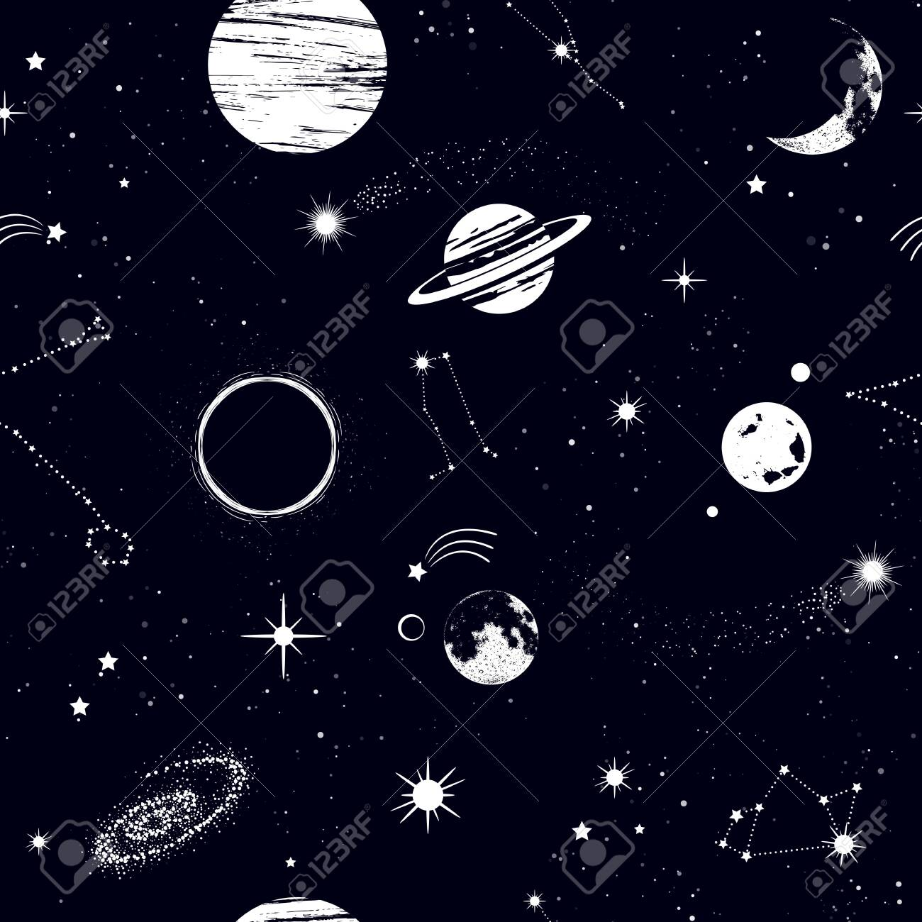 Space Seamless Pattern Beautiful Galaxy Stars Planets Constellations