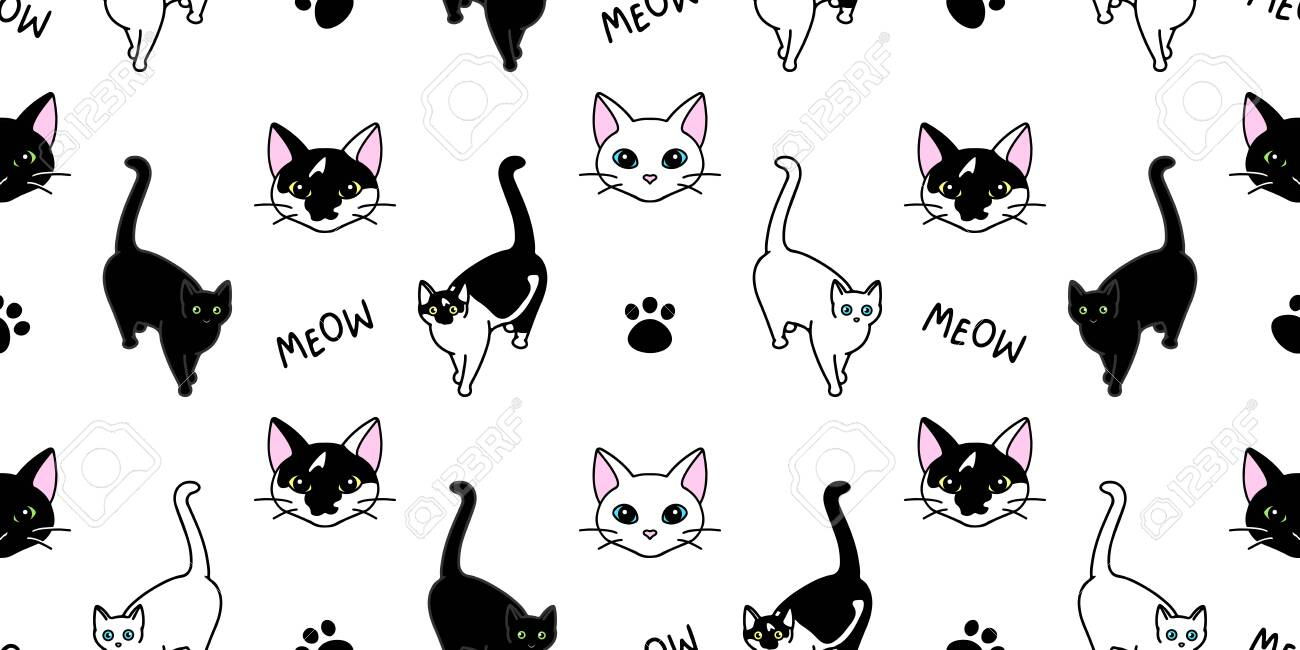 Seamless Pattern With Cute Black And White Cats Texture For Royalty Free Cliparts Vectors And Stock Illustration Image 139166883