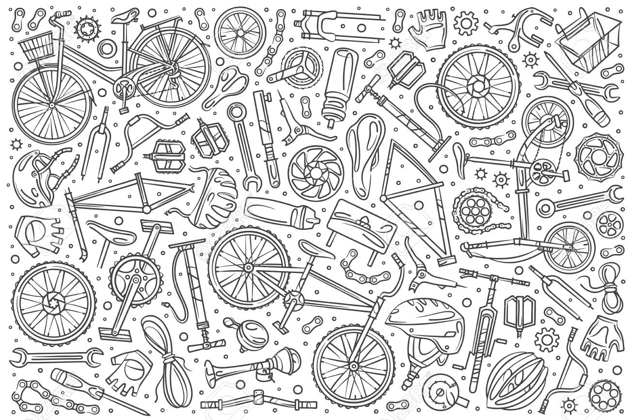 Hand drawn bicycle mechanic set doodle vector illustration background - 110078623