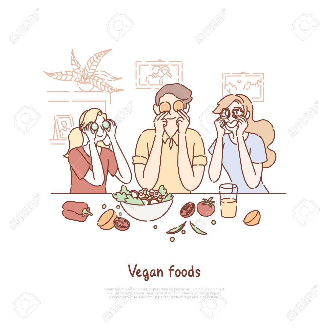 Family Eating Vegan Food Healthy Lifestyle Vegetarians Cooking Royalty Free Cliparts Vectors And Stock Illustration Image 127123093