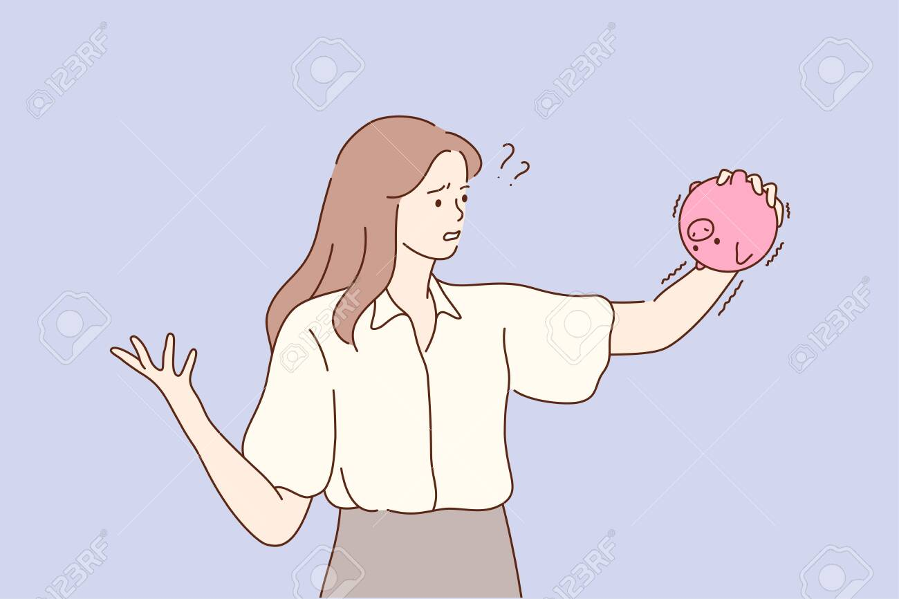 Business, finance, poverty, problem, cash concept. Young unhappy sad frustrated depressed poor businesswoman clerk manager standing holding piglet bank with no money. Fiancial bankruptcy illustration. - 155199442