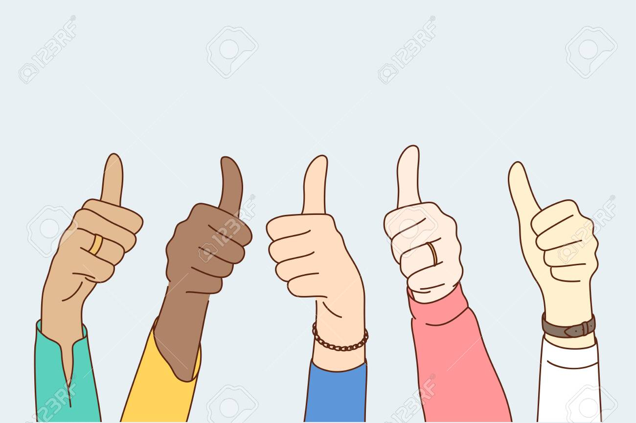 Success, approval, goal achievement, multiethnicity concept. Group multiethnic people happy clients hands showing approving ok sign or confirm with thumbs up. High level quality product customer rate. - 157020234