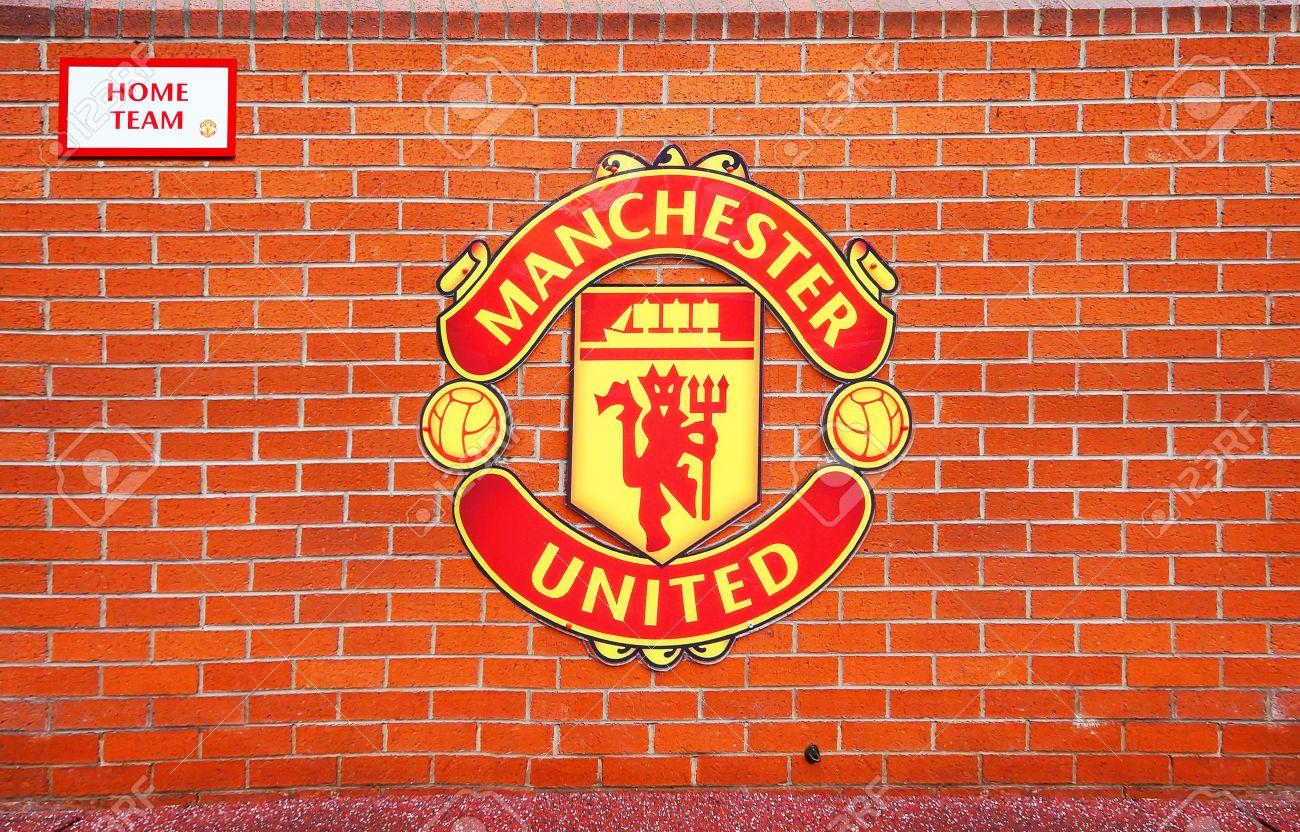 manchester england february 17 2014 logo on the home team player