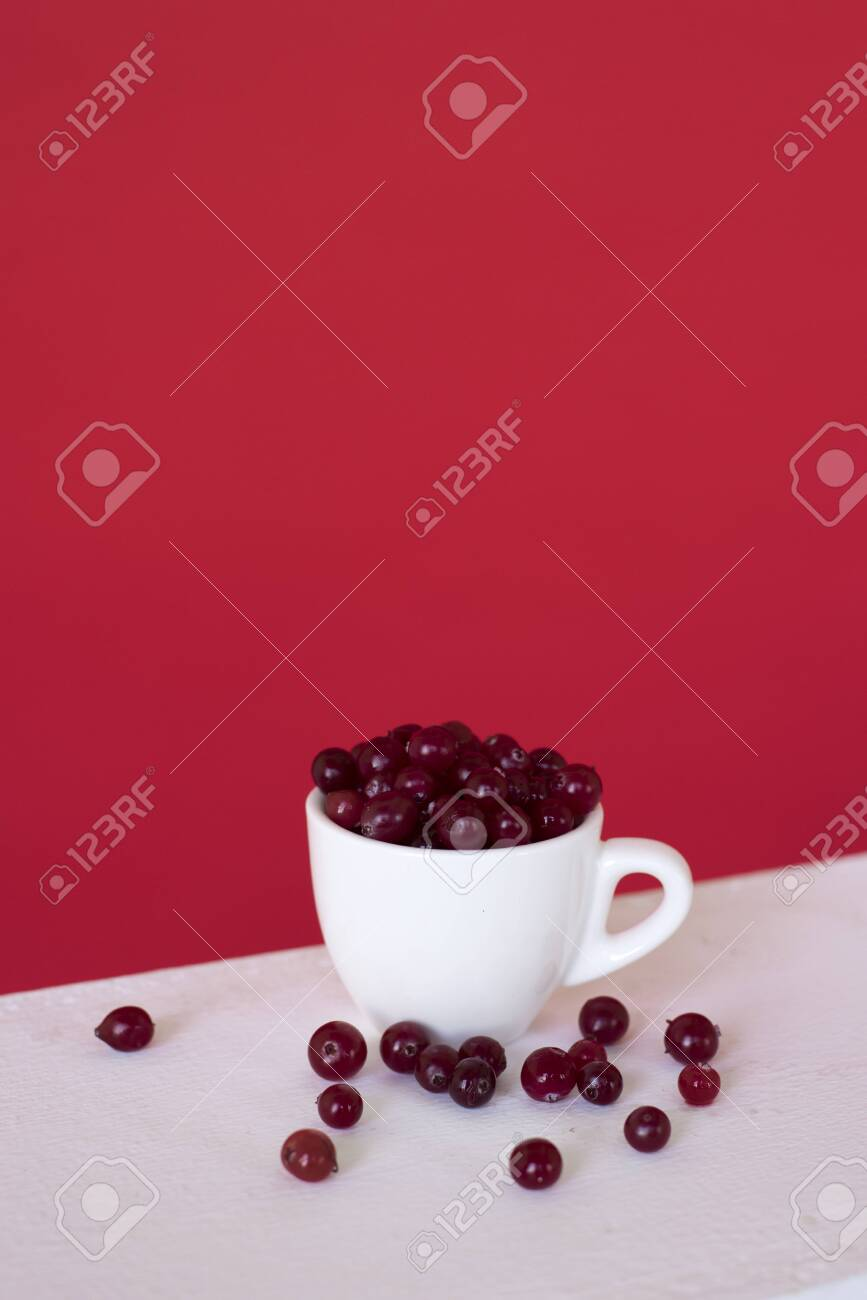 A white cup with red currant berry on a red background. small fruit - 123829544