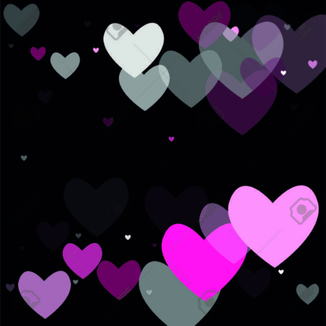 Beautiful Pink Confetti Hearts Falling On Black Background