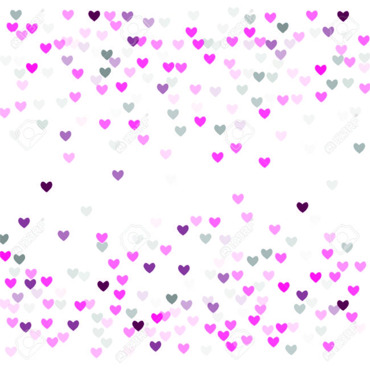 Beautiful Pink Confetti Hearts Falling On White Background