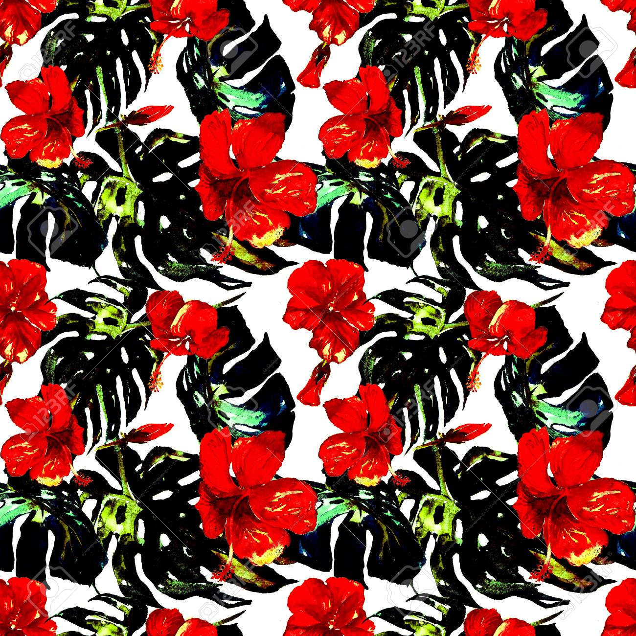 Hawaiian Flowers Watercolor Seamless Pattern Hand Painted