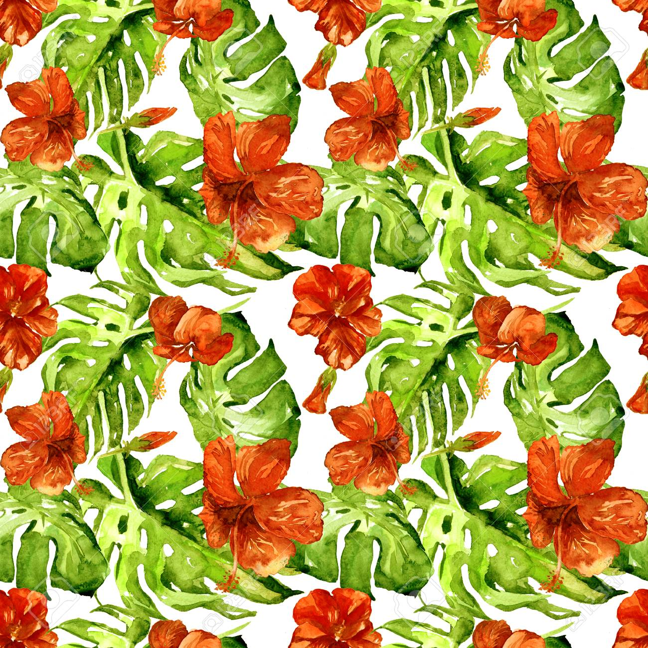 Exotic flowers hawaiian flowers watercolor seamless pattern exotic flowers hawaiian flowers watercolor seamless pattern hand painted illustration of tropical leaves and izmirmasajfo
