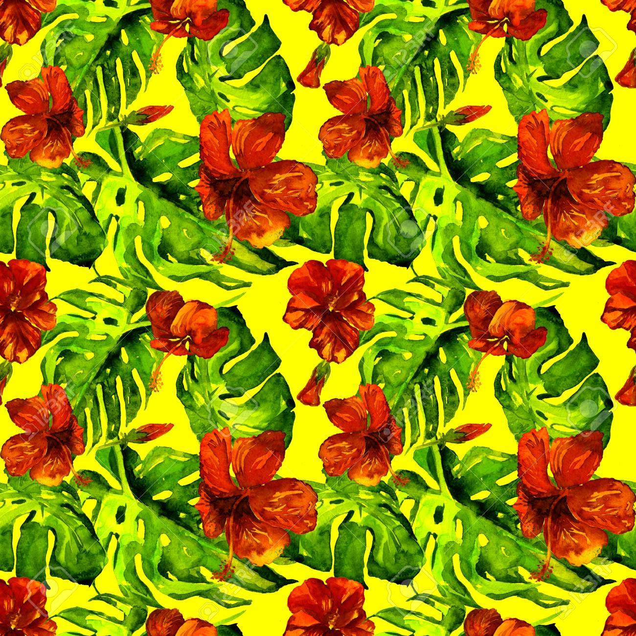 Exotic Flowers Hawaiian Flowers Watercolor Seamless Pattern