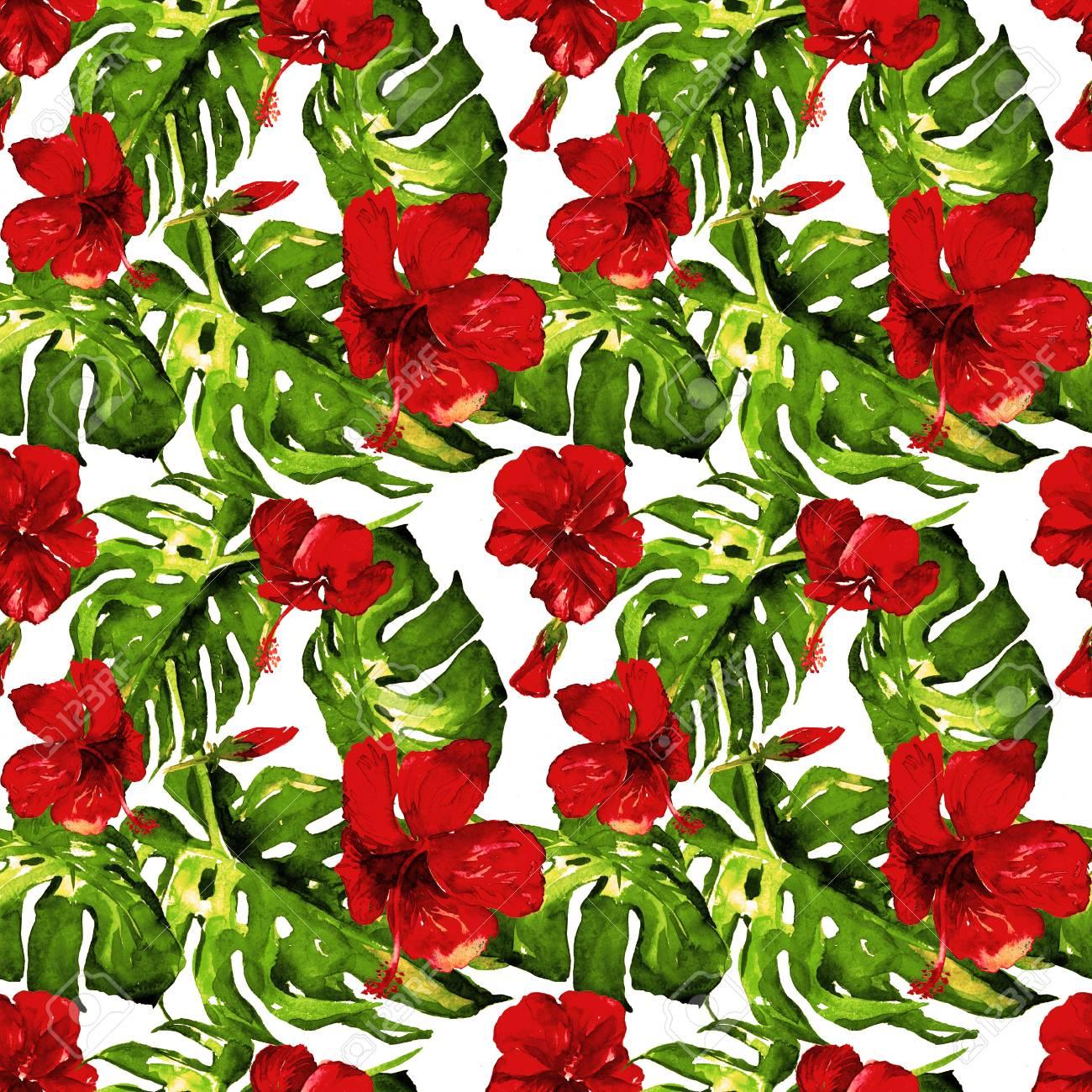 Exotic flowers hawaiian flowers watercolor seamless pattern exotic flowers hawaiian flowers watercolor seamless pattern hand painted illustration of tropical izmirmasajfo