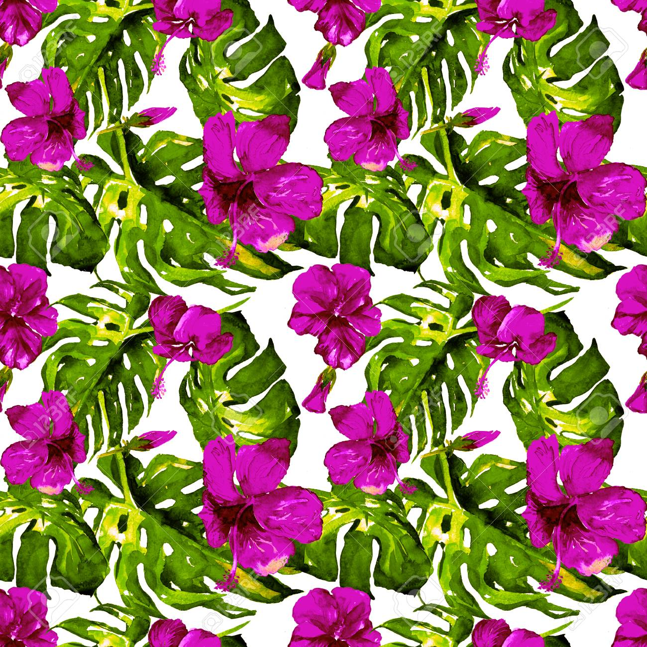 Exotic flowers hawaiian flowers watercolor seamless pattern exotic flowers hawaiian flowers watercolor seamless pattern hand painted illustration of tropical leaves and izmirmasajfo Image collections
