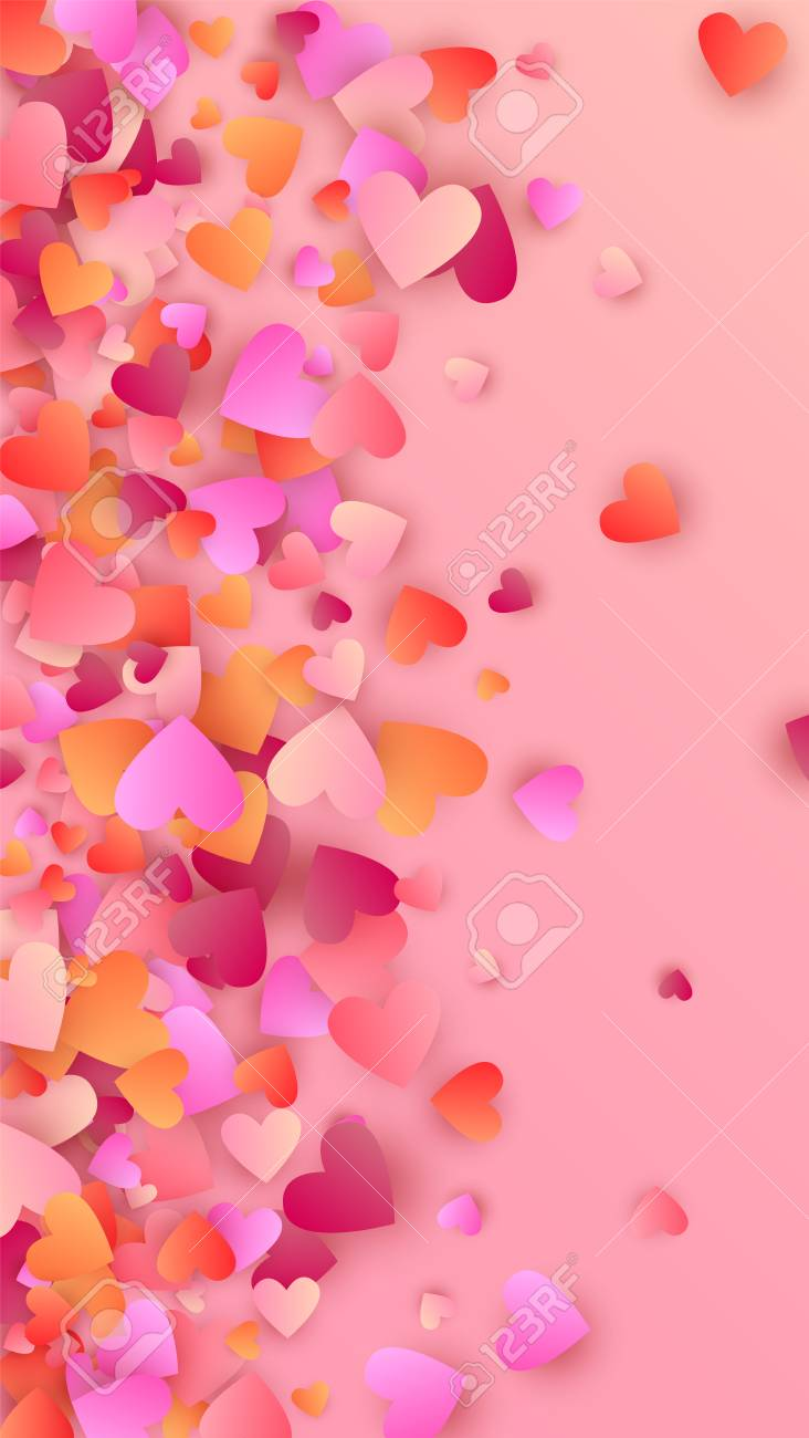105315543 beautiful pink hearts falling on pink background illustration with pink hearts for your design valen