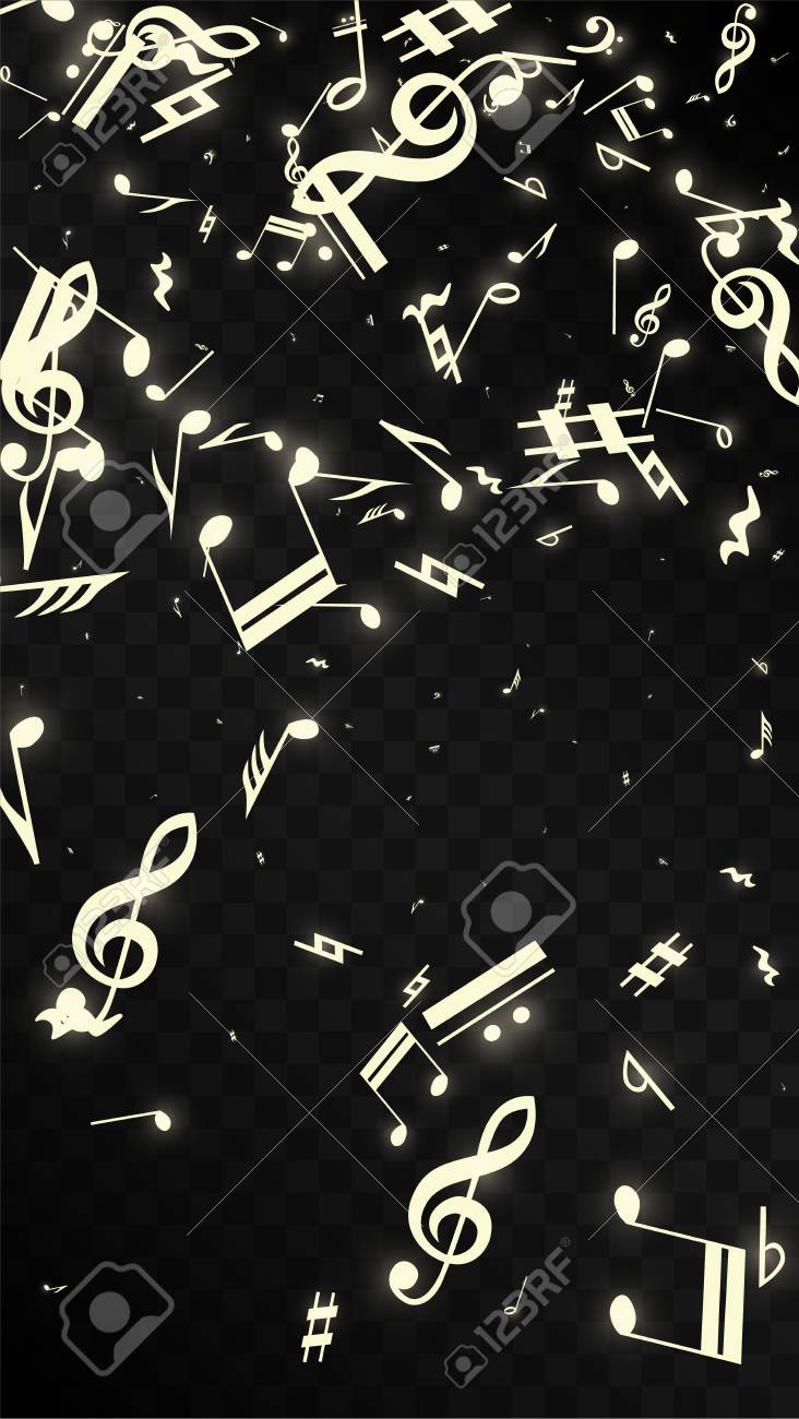 Golden Musical Notes On Black Background Vector Luminous Musical