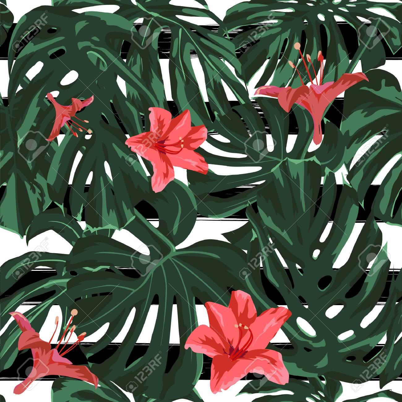 Tropical Print Jungle Seamless Pattern Vector Tropic Summer