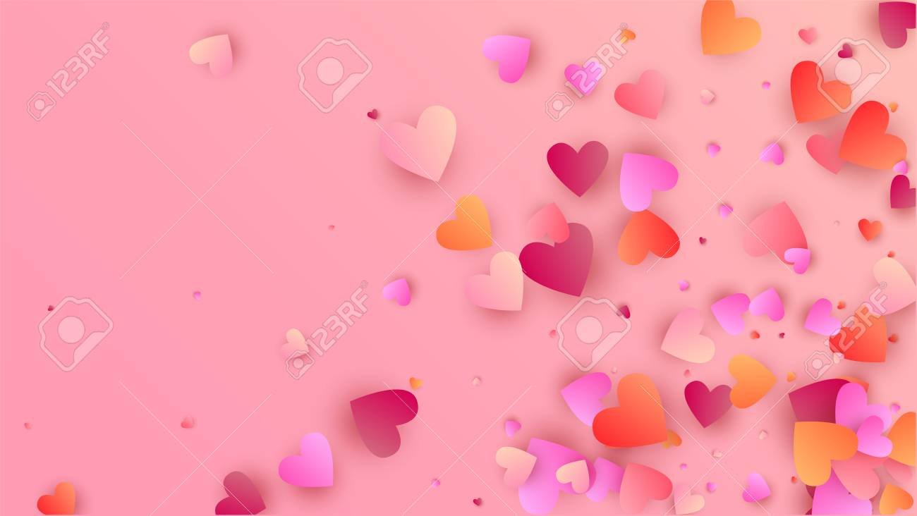 Love Background With Red And Pink Hearts Illustration With Love