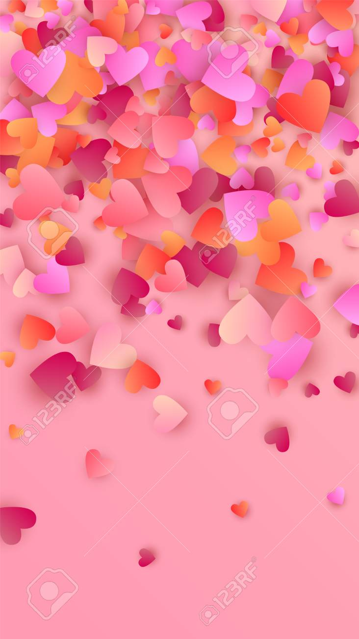 108687817 beautiful pink hearts falling on pink background illustration with pink hearts for your design valen
