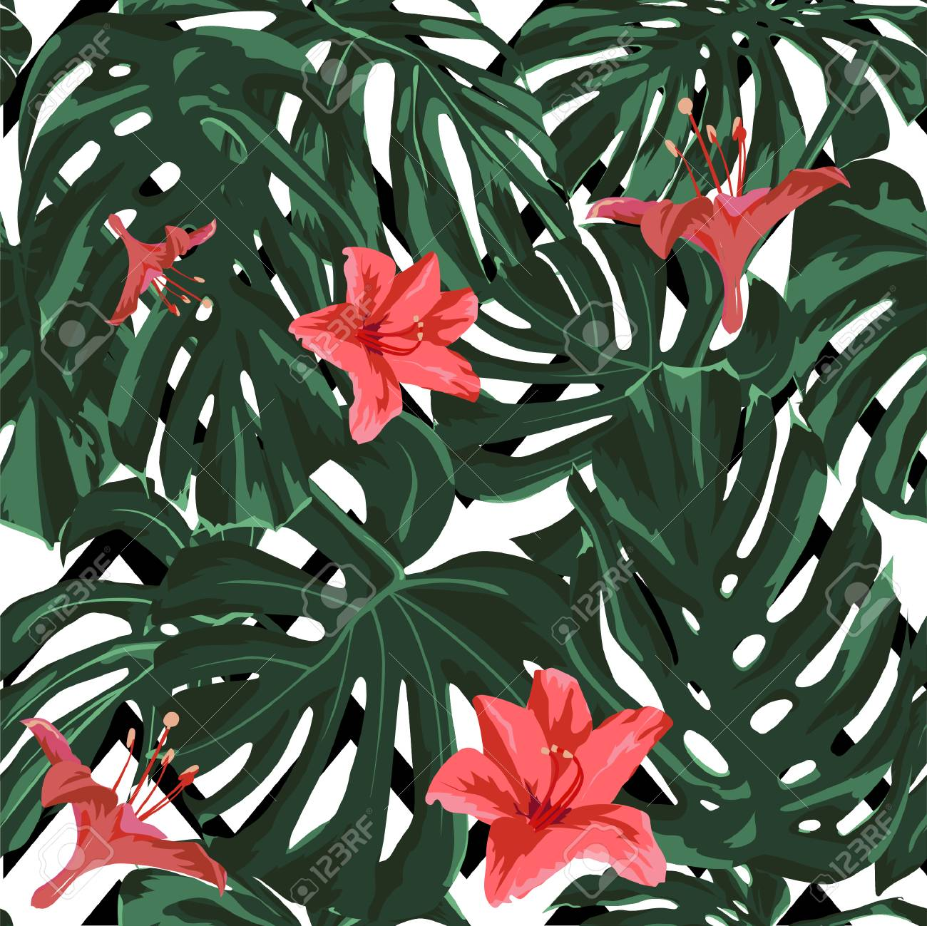 Tropical Print Jungle Seamless Pattern Vector Illustration Of Tropical Leaves And Flowers Background Texture Wrapping Paper Textile Fabric Or