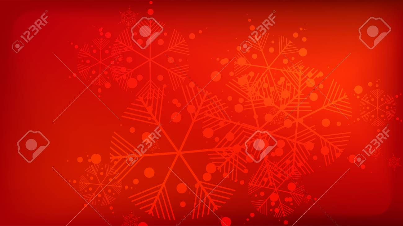 Red Christmas Background.Snowflakes Red Christmas Background Element Of Design With Snow