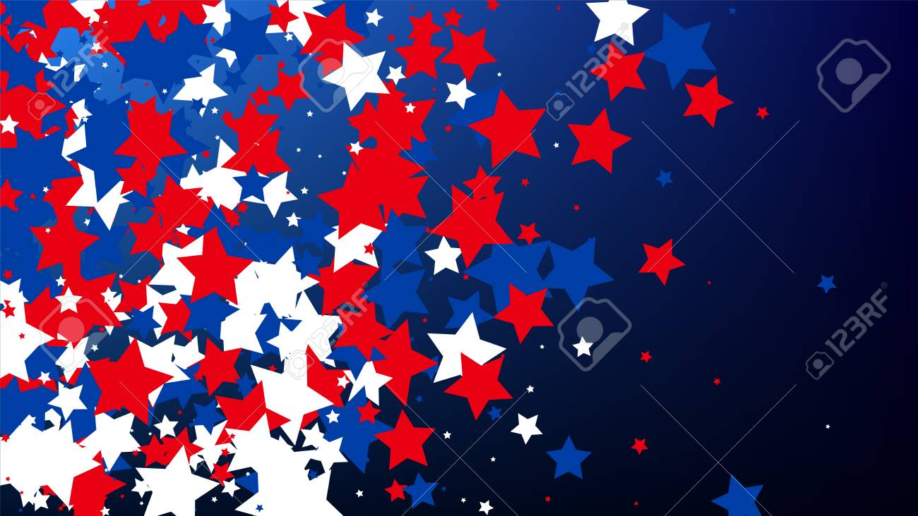 USA Independence Day. Colours of American Flag. . Invitation Background. Banner, Christmas and New Year card, Postcard, Packaging, Textile Print. - 127556949