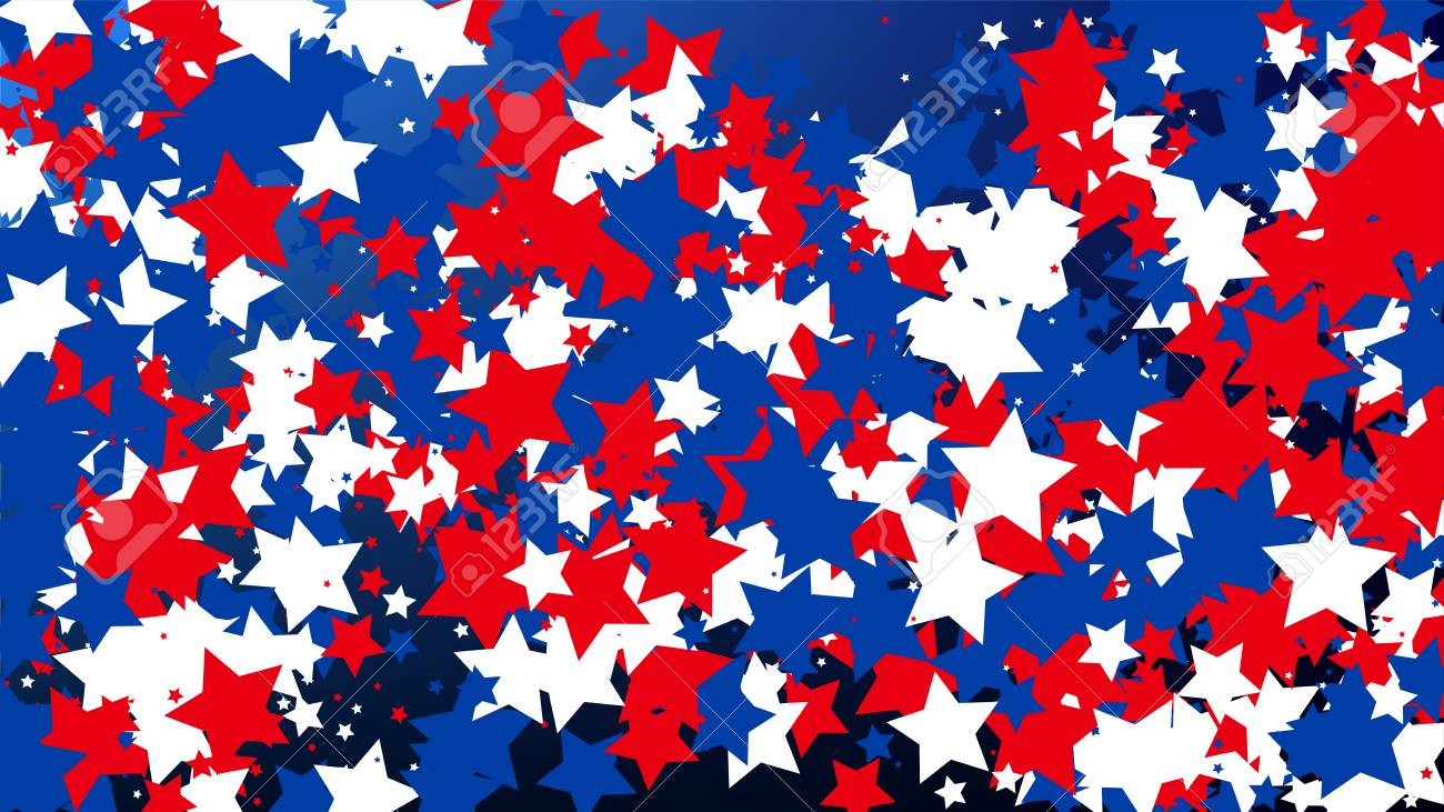 colours of american flag usa independence day red blue and white stars on