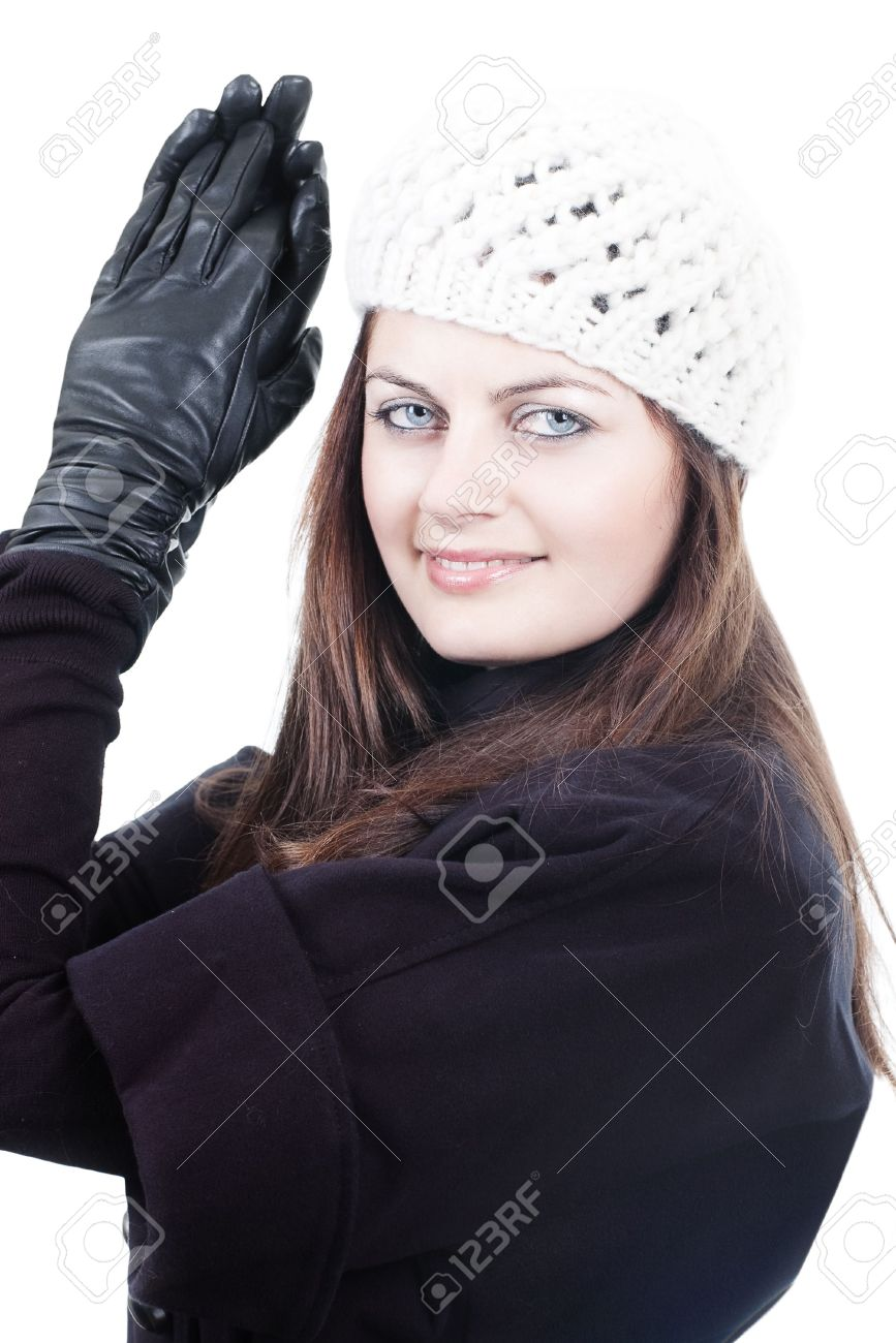 Black leather gloves female - Stock Photo Stylish Fashionable Young Woman In White Knitted Hat And Black Leather Gloves Isolated On White