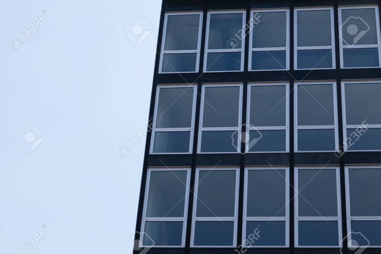 Part Office Building Windows In Frames With Blue Sky And Copy ...