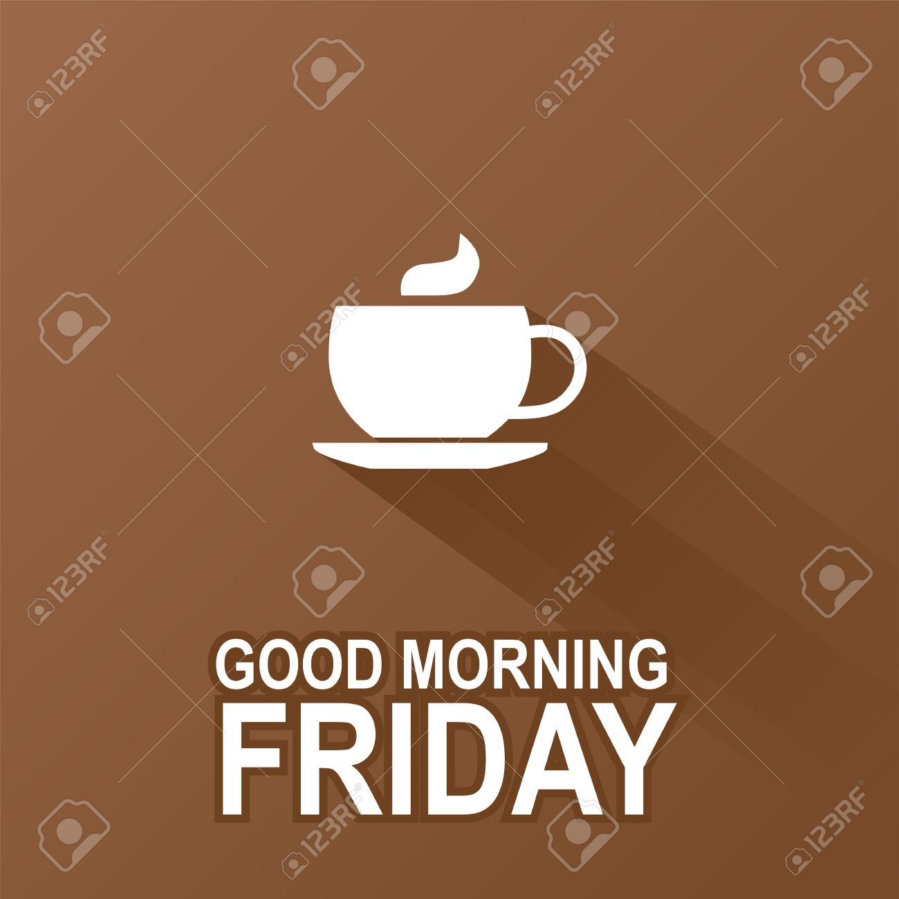 Text Good Morning Friday On A Brown Background Royalty Free Cliparts