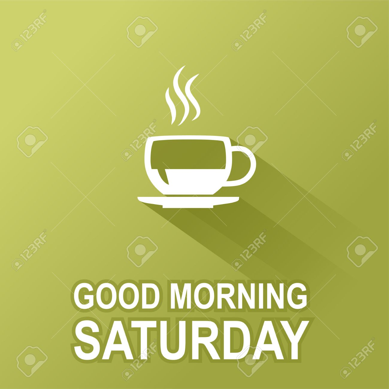 Text Good Morning Saturday On A Green Background Royalty Free