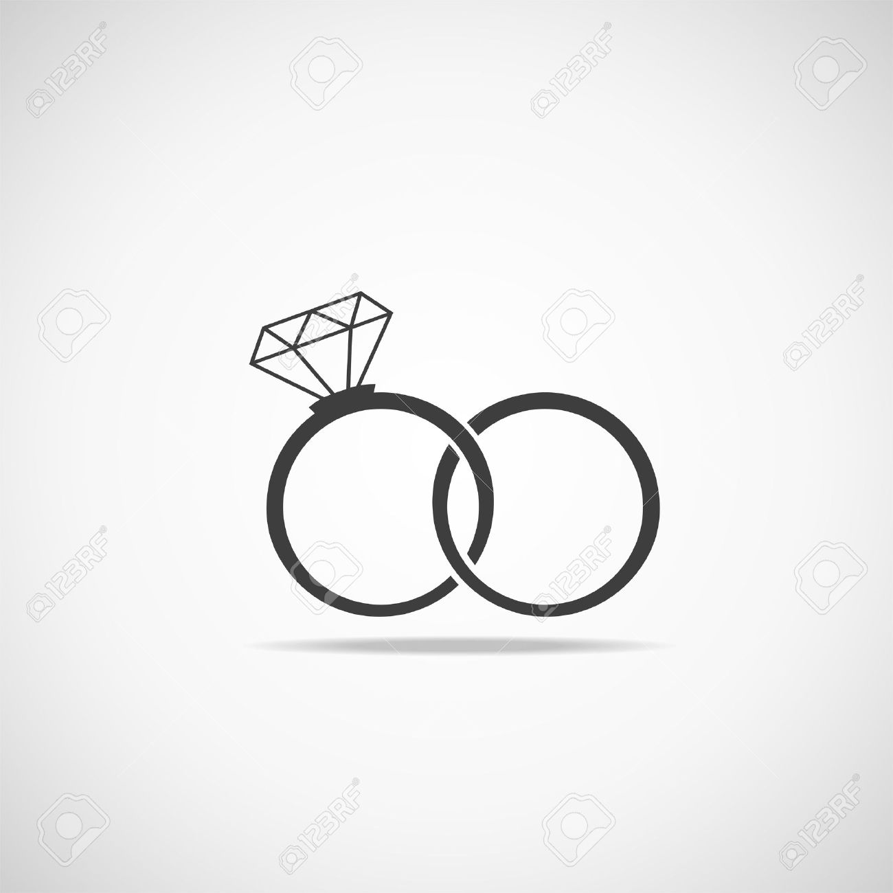 Wedding Rings Vector Icon Wedding Invitation Jewelry Royalty Free