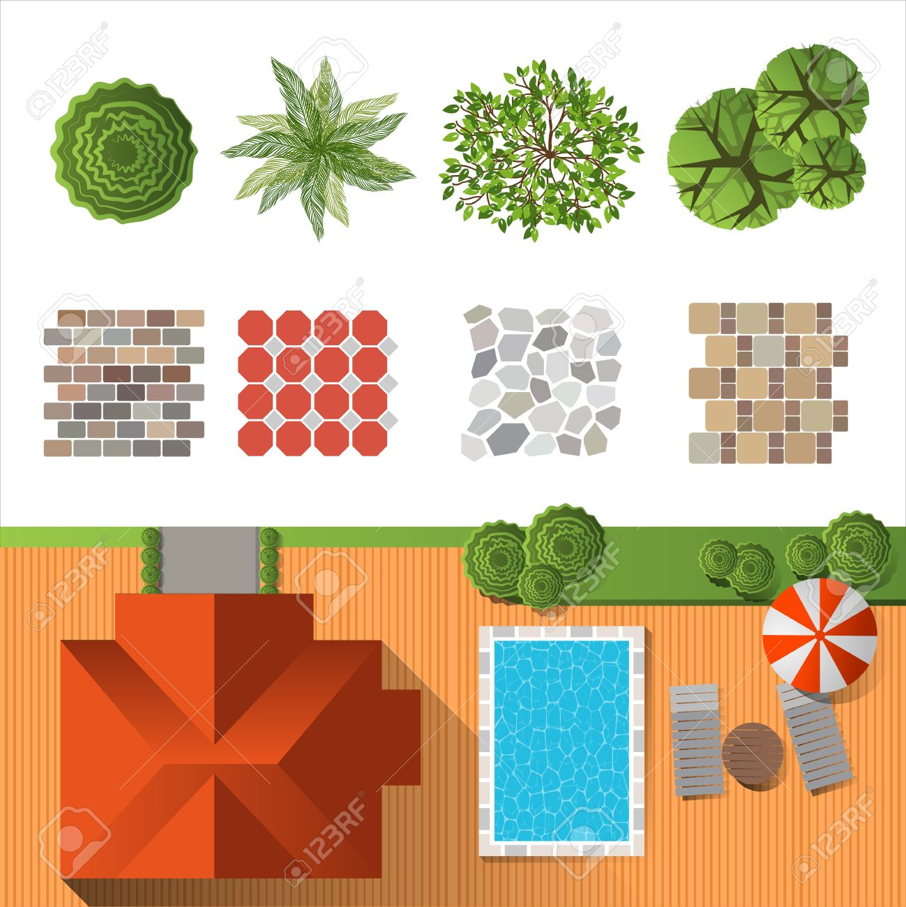 Plant top view vector in group download free vector art stock - Plants Top View Detailed Landscape Design Elements Make Your Own Plan Top View