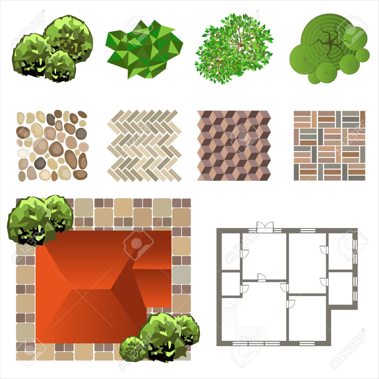 Plant top view vector in group download free vector art stock - Tree Top View Detailed Landscape Design Elements Make Your Own Plan Top View