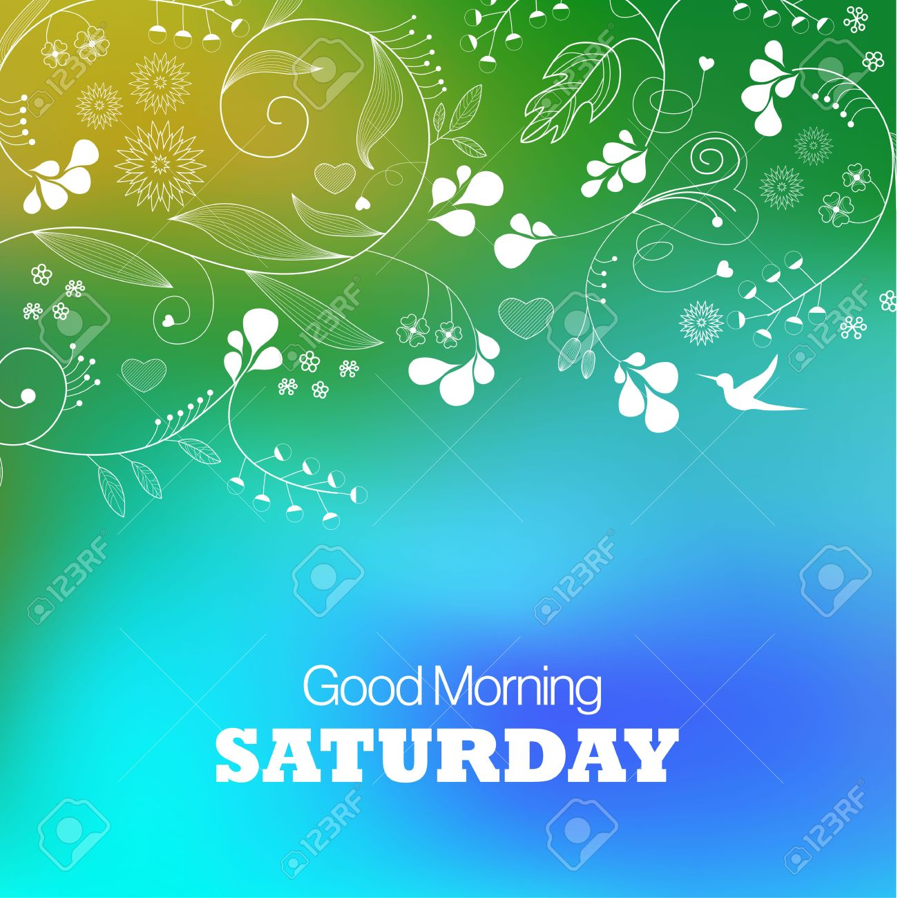 Days Of The Week Saturday Text Good Morning Saturday On A Green