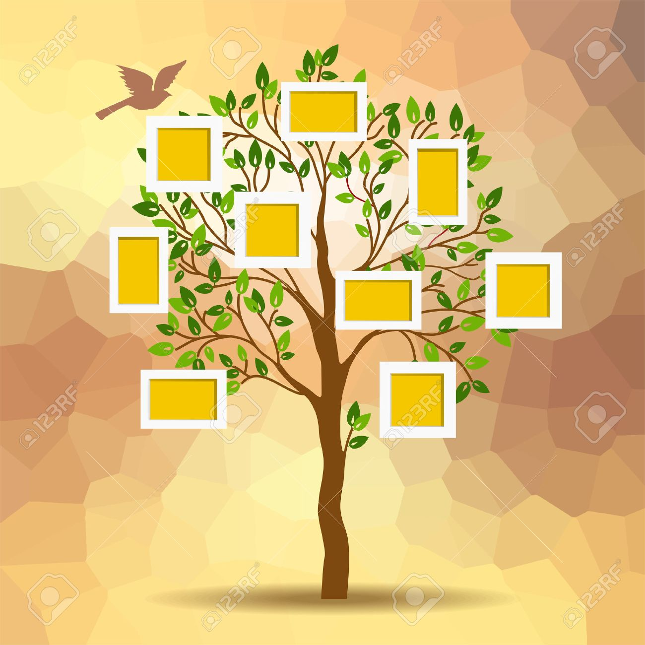 Family Tree Design, Insert Photos Into Frames Royalty Free ...
