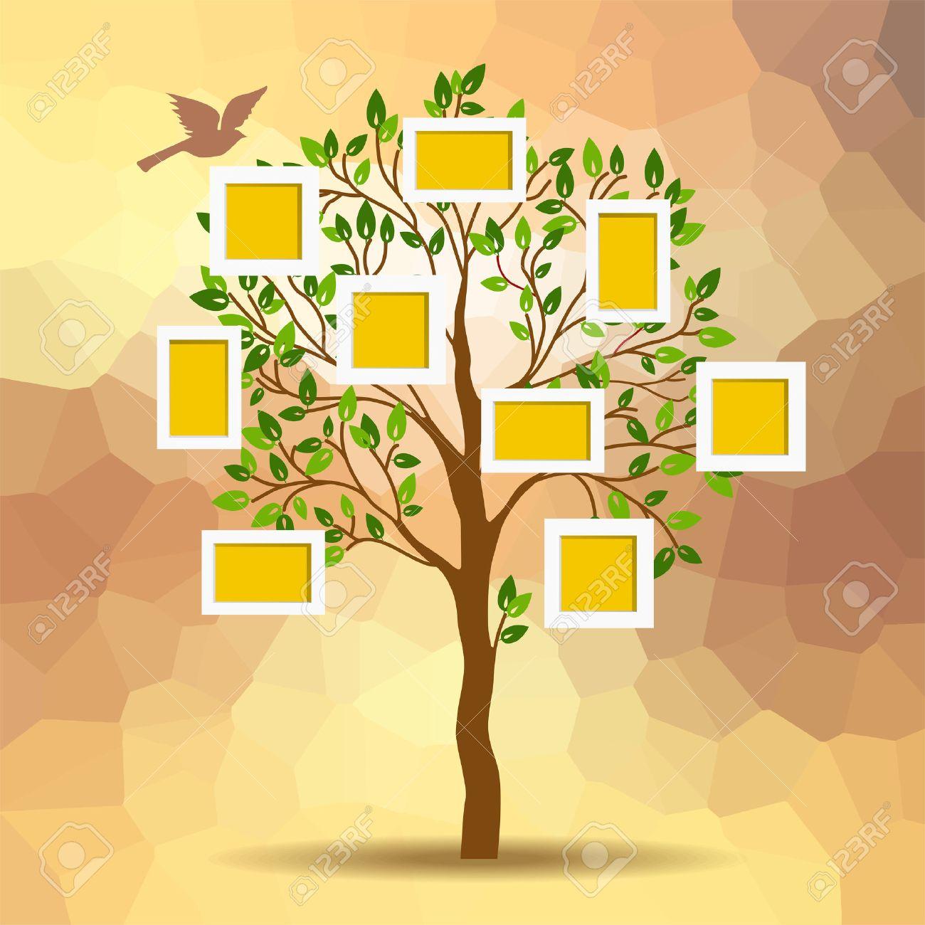 Diseño Del árbol De Familia, Insertar Fotos En Marcos Ilustraciones ...