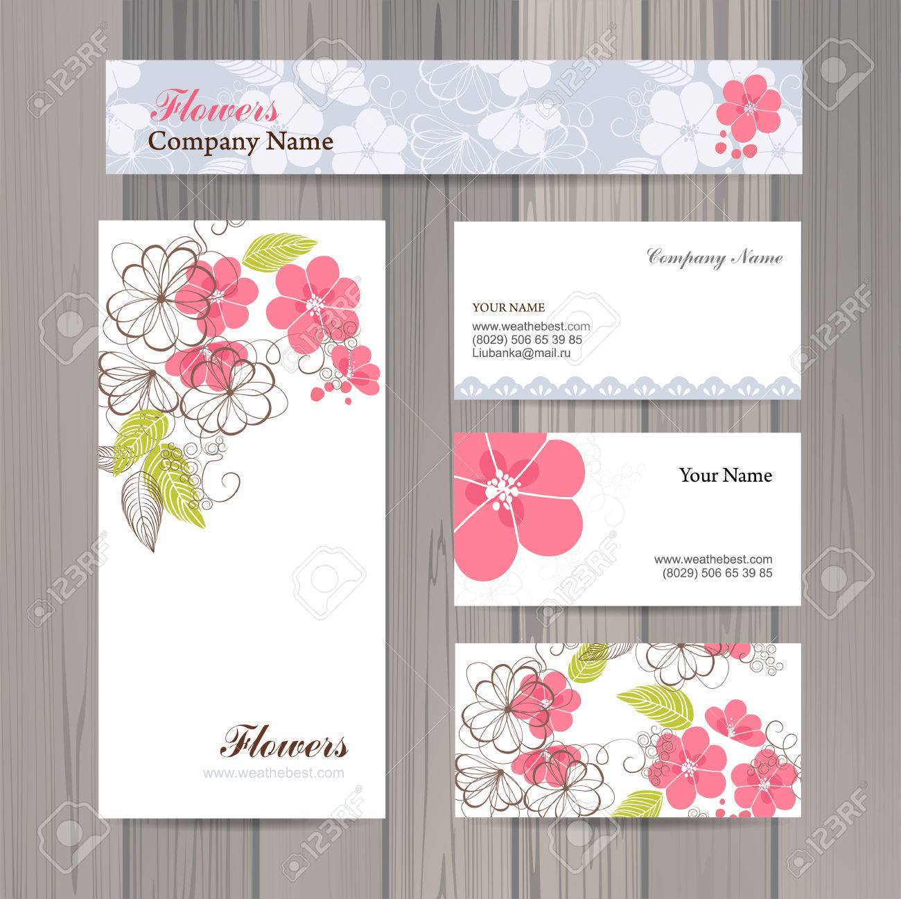 Set Of Business Card And Invitation Card Template. Vector ...