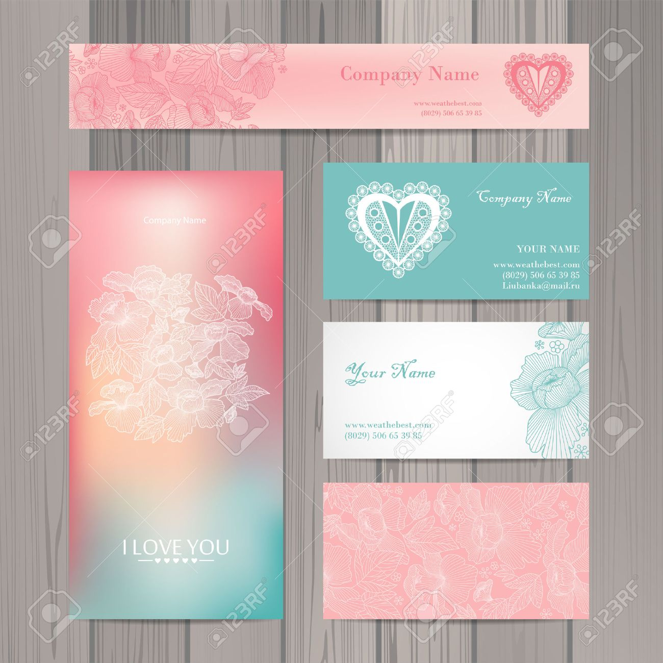 set of business card and invitation card template vector