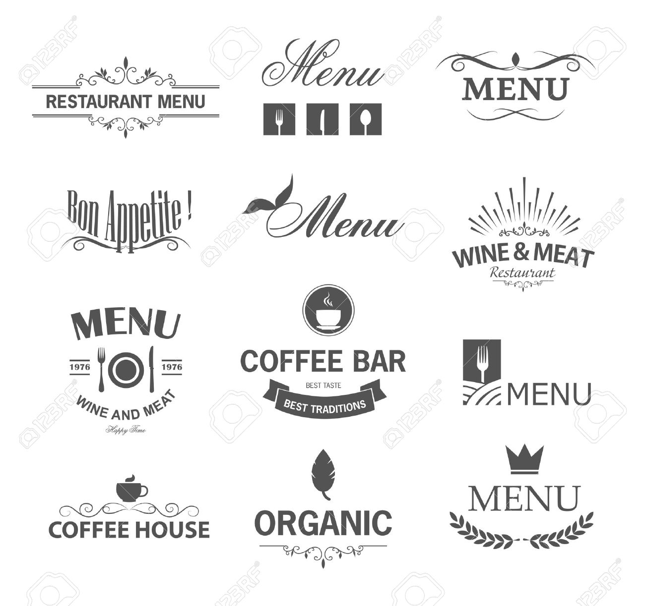 Vintage set of restaurant signs symbols logo elements and icons vintage set of restaurant signs symbols logo elements and icons calligraphy decorations collection buycottarizona Image collections