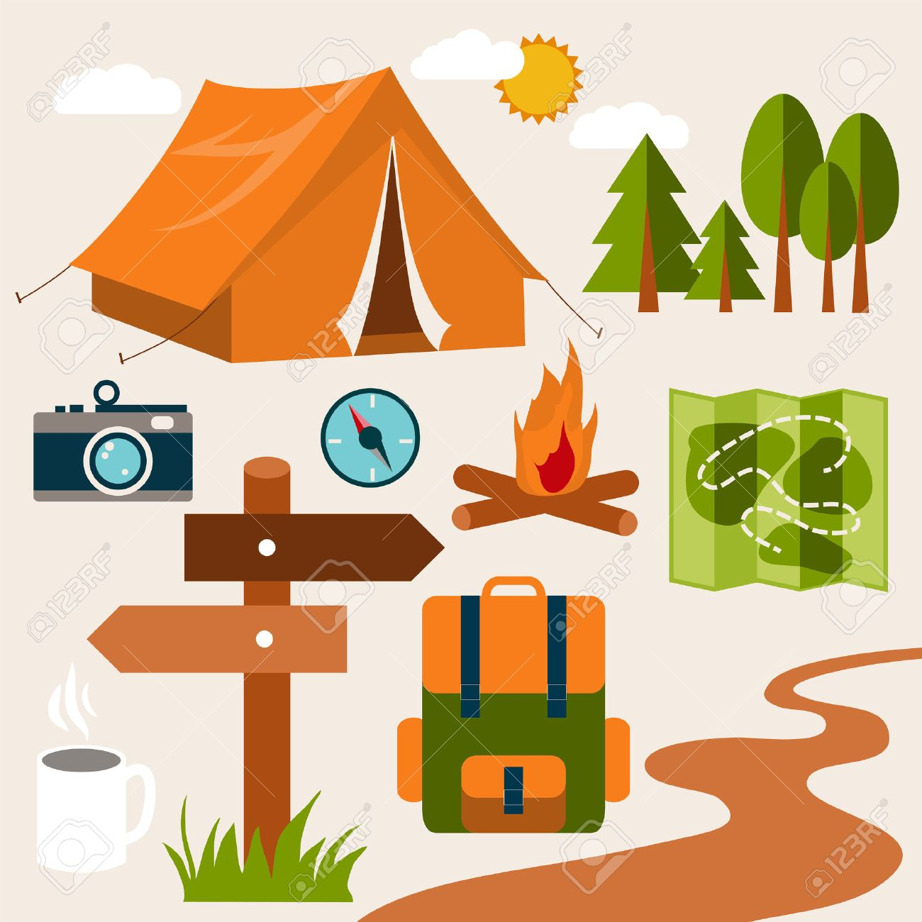 Set of camping of adventure. Equipment icon set in vector. - 36918349