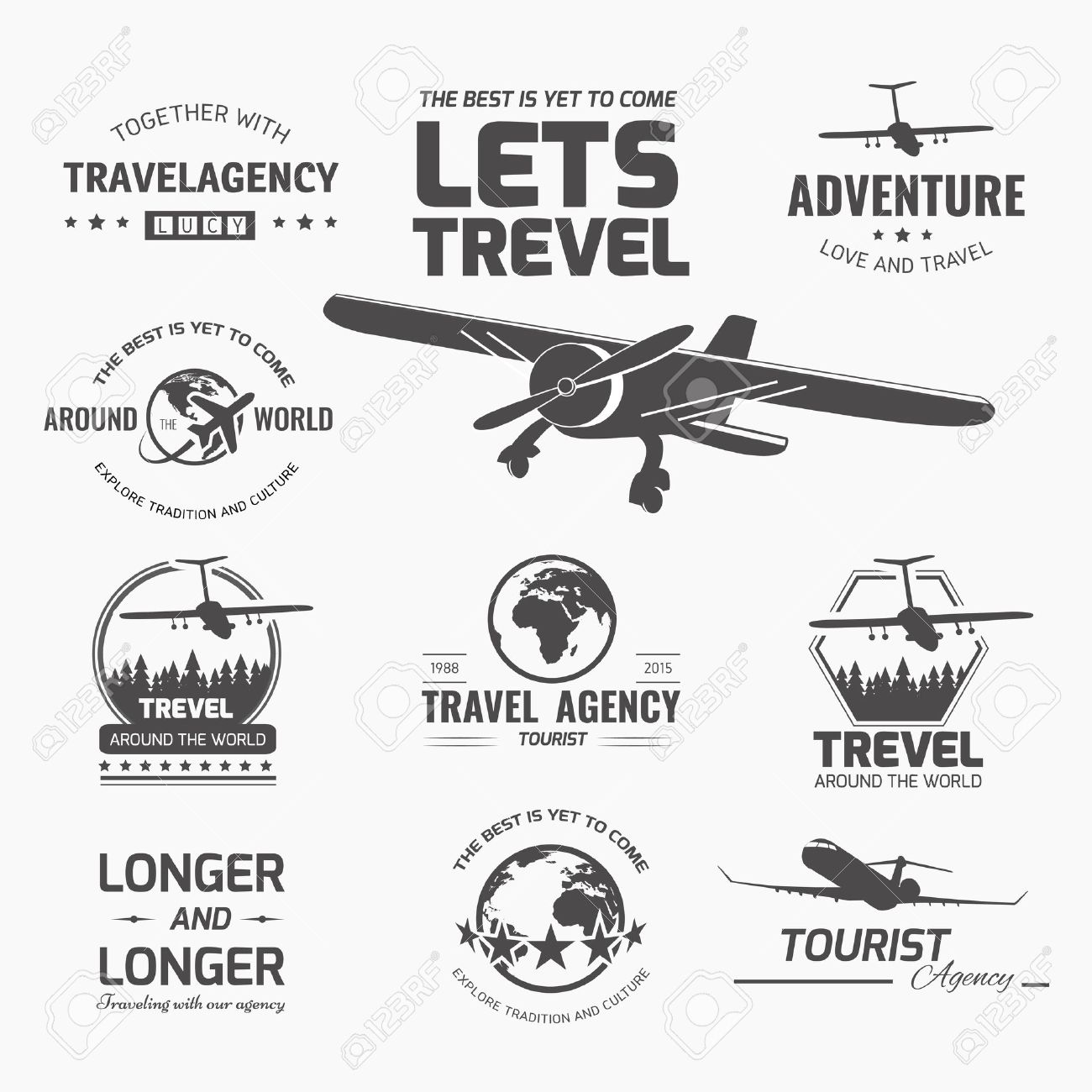 A set of vector logo design elements for travel agency  Plane,