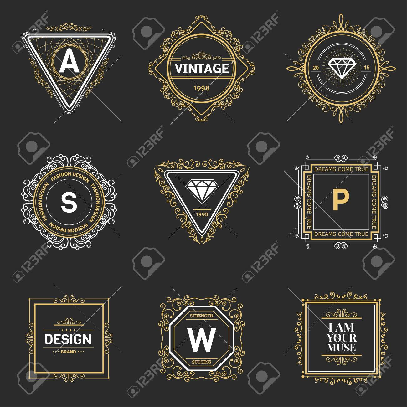 Monogram Luxury Logo Template With Flourishes Calligraphic Elegant ...