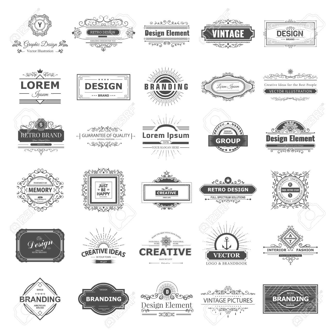 Retro Vintage labels set. design elements business signs, branding, badges, objects, identity, labels. - 43132034