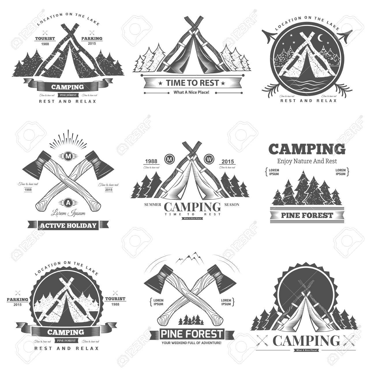 Retro vector vintage camp label and logo graphics. Camping outdoor, adventure and explorer. - 43947676