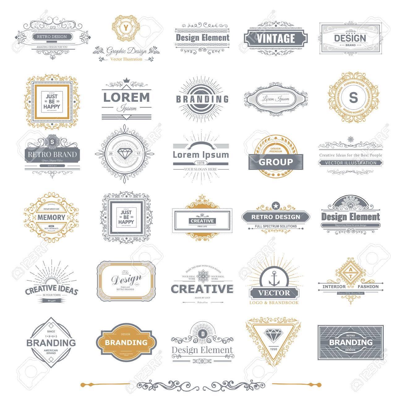 Retro Vintage labels Insignias set. - 44492859