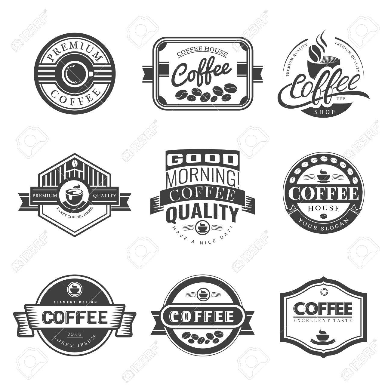 Coffee Vintage Labels Logo Template Collection. Vector Symbols and Icons of Retro style. Mocha, Espresso, Ristretto, Latte, Americano. - 44886906
