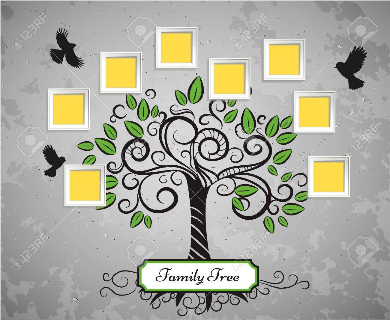Recuerdos Vector árbol De Arte Con Marcos De Fotos. Inserte Su ...