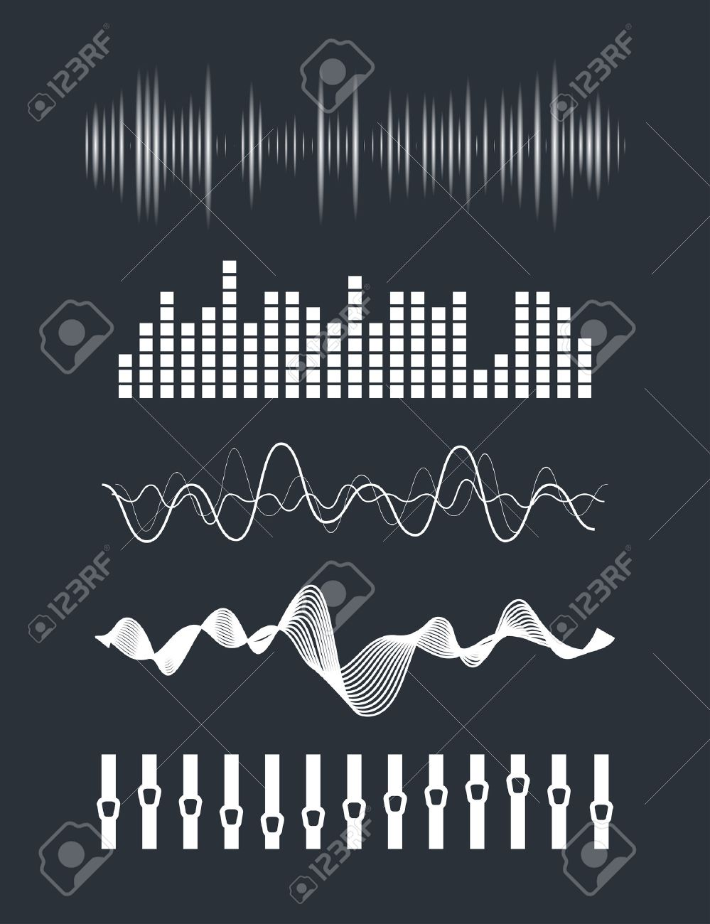 Vector music sound waves set. Audio digital equalizer technology, console panel, pulse musical. - 46084992